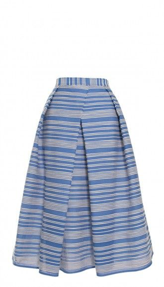 Ribbion-esque stripes lend a unique texture to the Raffia Organza Stripe Skirt, an on-trend silhouette that's reminiscent of classic, ladylike style.