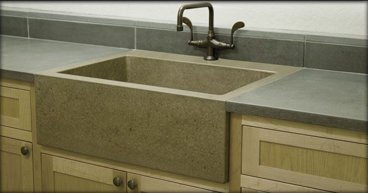 Beautiful Kitchen Farm Sinks   Concrete Kitchen Countertops With Farm Sink
