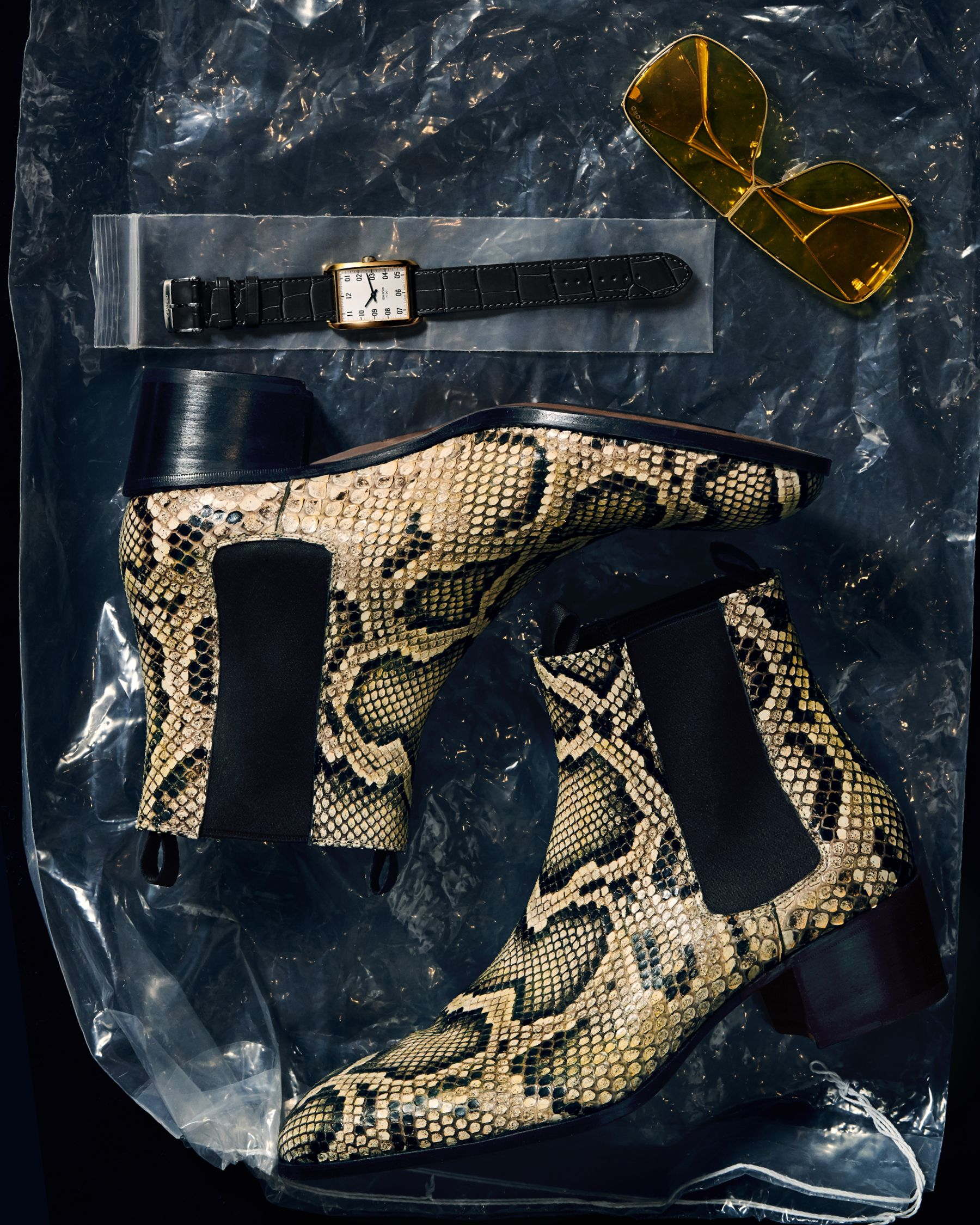 Bold python print accessories and RTW are featured