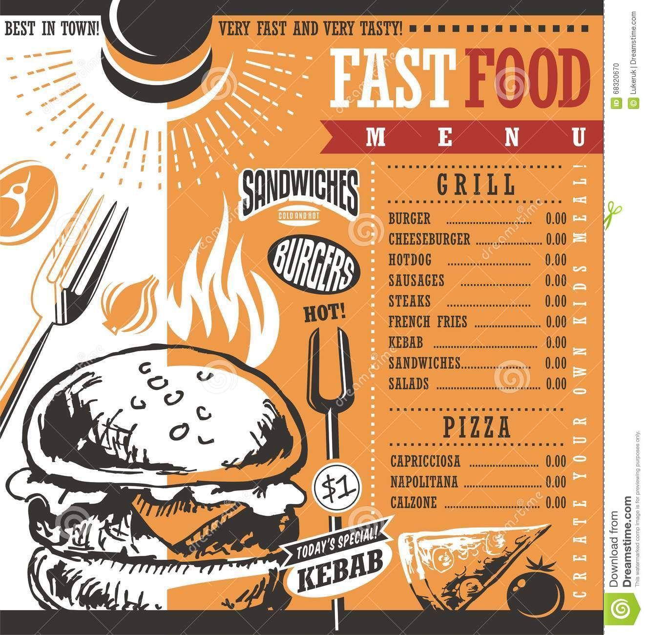 FastFoodRestaurantMenuDesignIdeaVintageDrawingRetroPrice