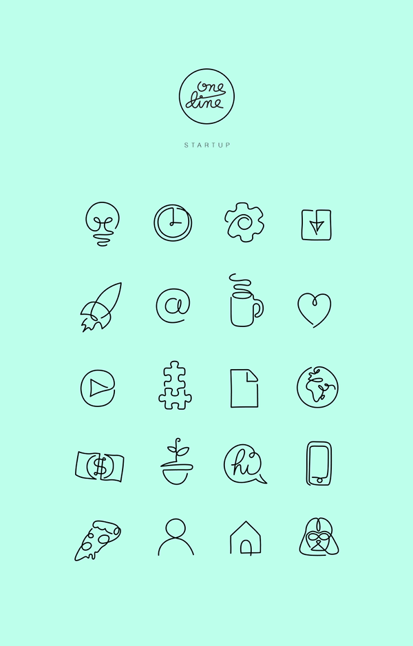 One Line Free Startup Icons Social Media Icons Pinte