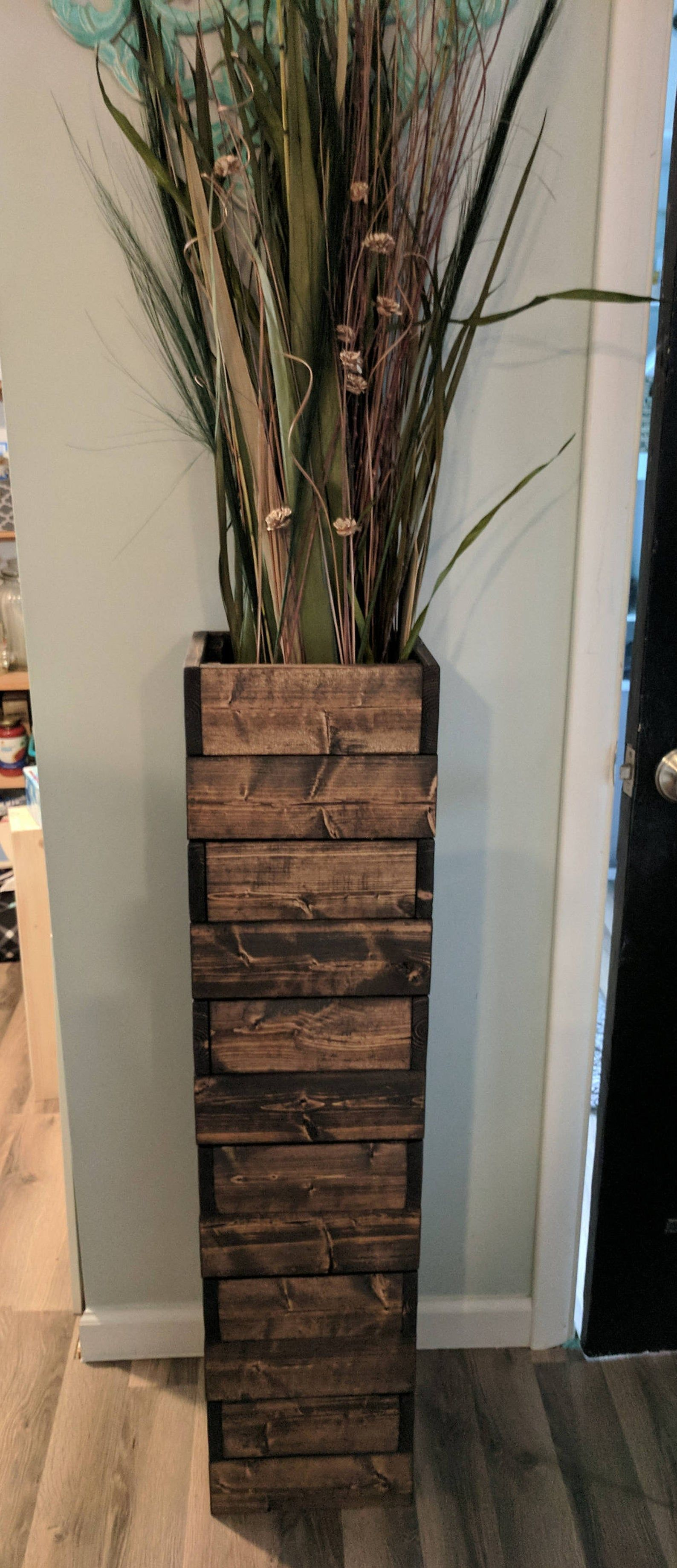 Tall Stacked Rustic Floor Vase Wooden Vase Home Etsy In 2020