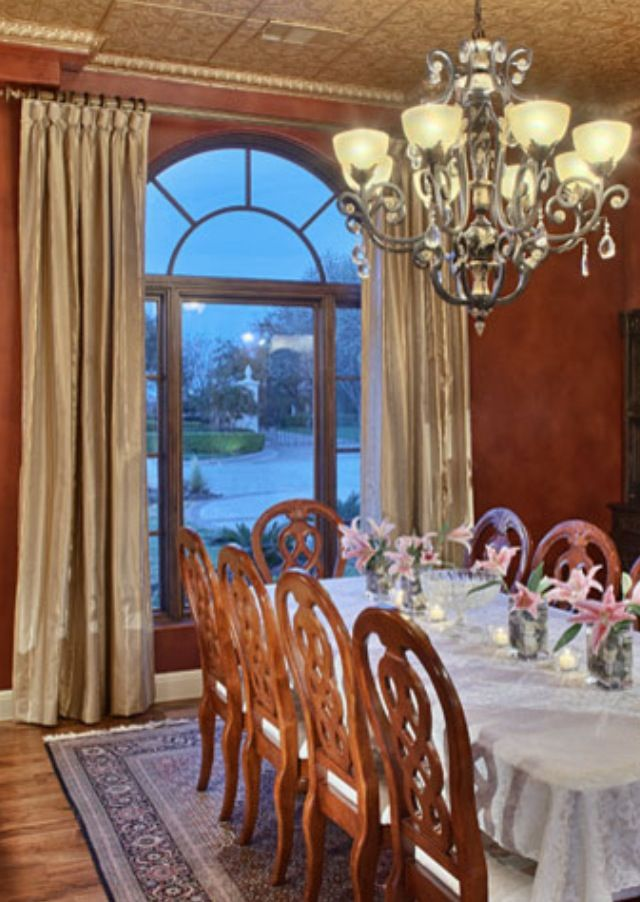 Dining Room Single Substantial Rod Above Arch Arched Window Treatments Arched Windows