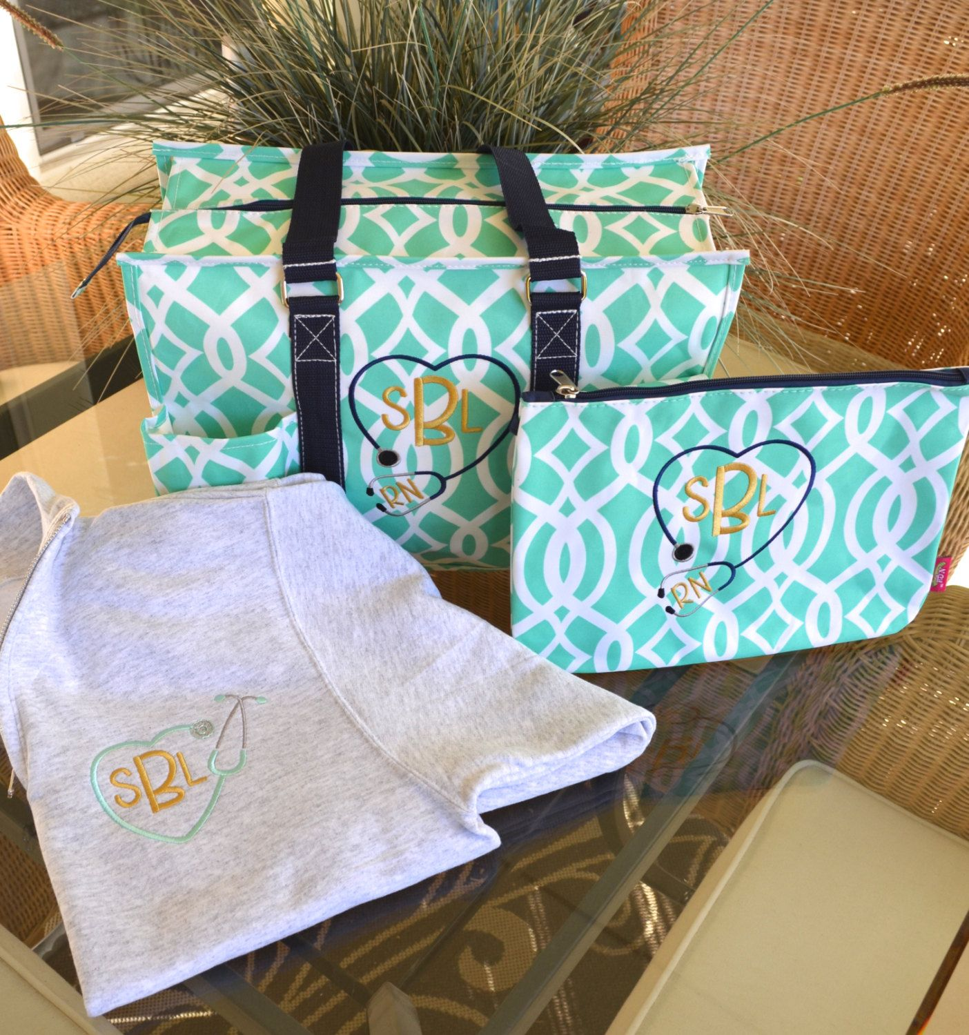 Nurse S Tote Bag Set 16 1 4 Zip Pullover Monogrammed 2 Day Shipping By Schedinstyle1 On Etsy