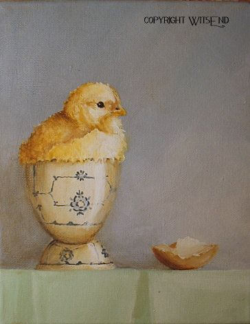 Chick Egg painting original baby chicken in eggcup still life art TREASURY item