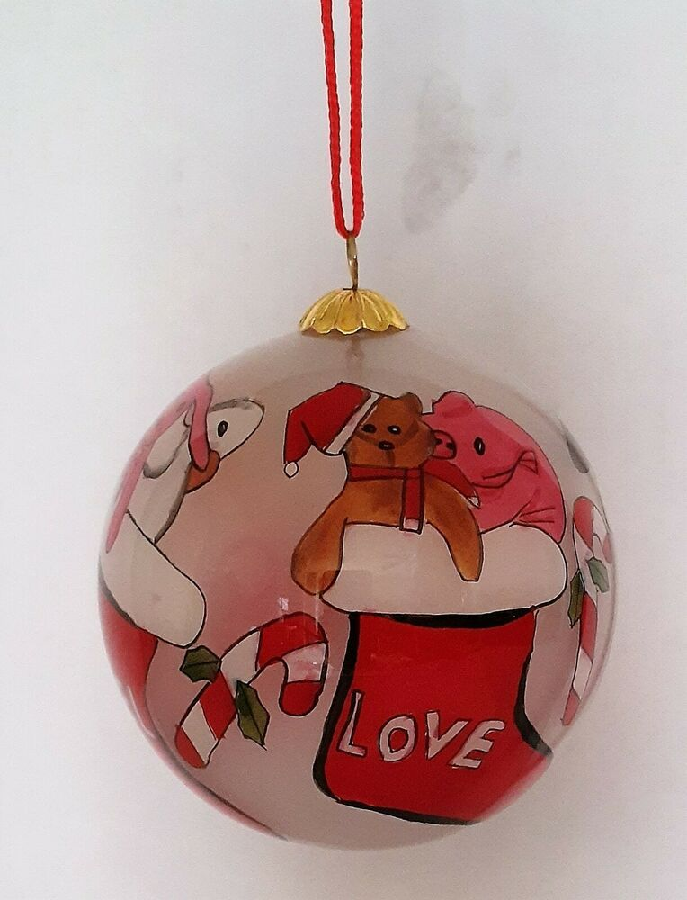 Li Bien LOVE JOY PEACE NOEL Animals in Stockings Hand Painted