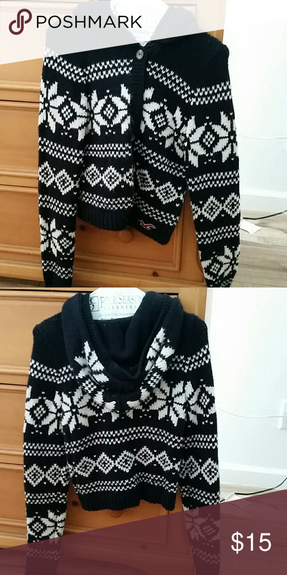 Hollister button up sweater with hood Black  and white Hollister sweater Hollister Sweaters Cardigans