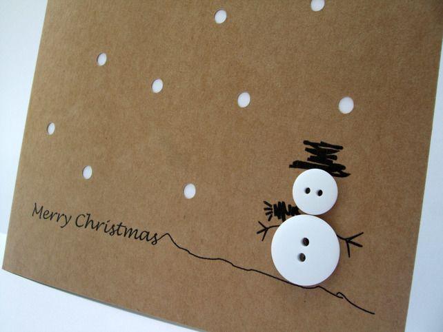 Set Of 12 Christmas Cards Button Snowman Christmas Card Pack Diy Christmas Cards Christmas Card Packs Homemade Christmas Cards