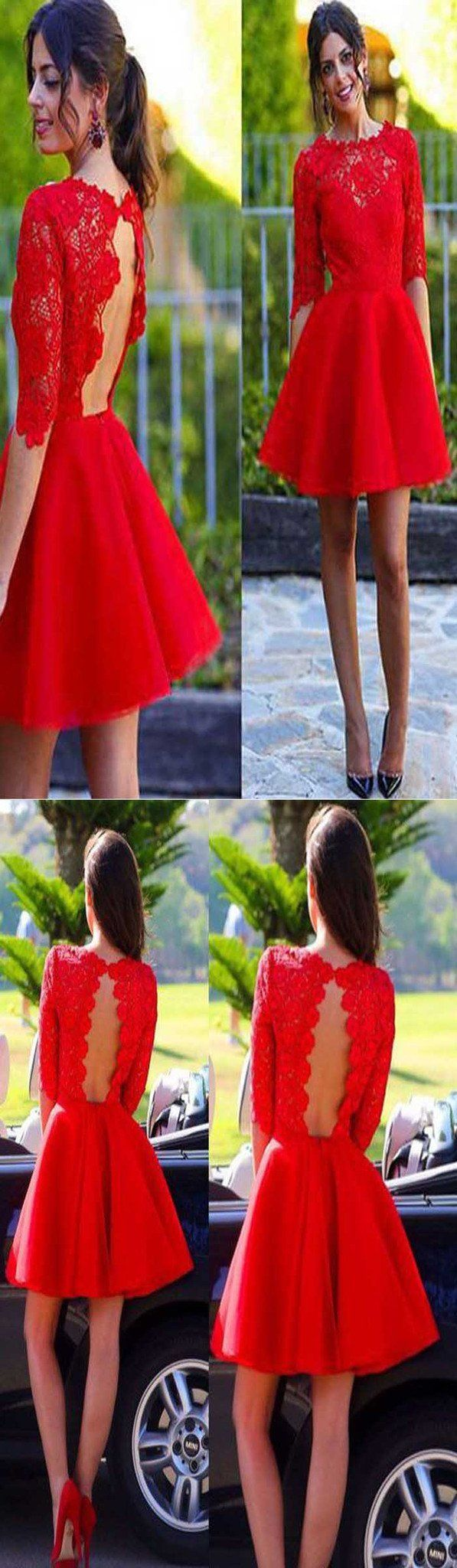 Blush red half sleeve see through lace open back charming homecoming