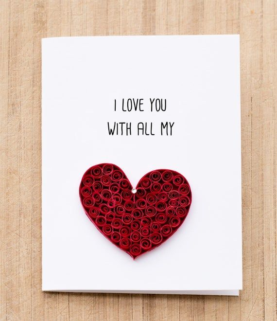 Greeting Card. I love you with all my heart. Quilled art to   Etsy