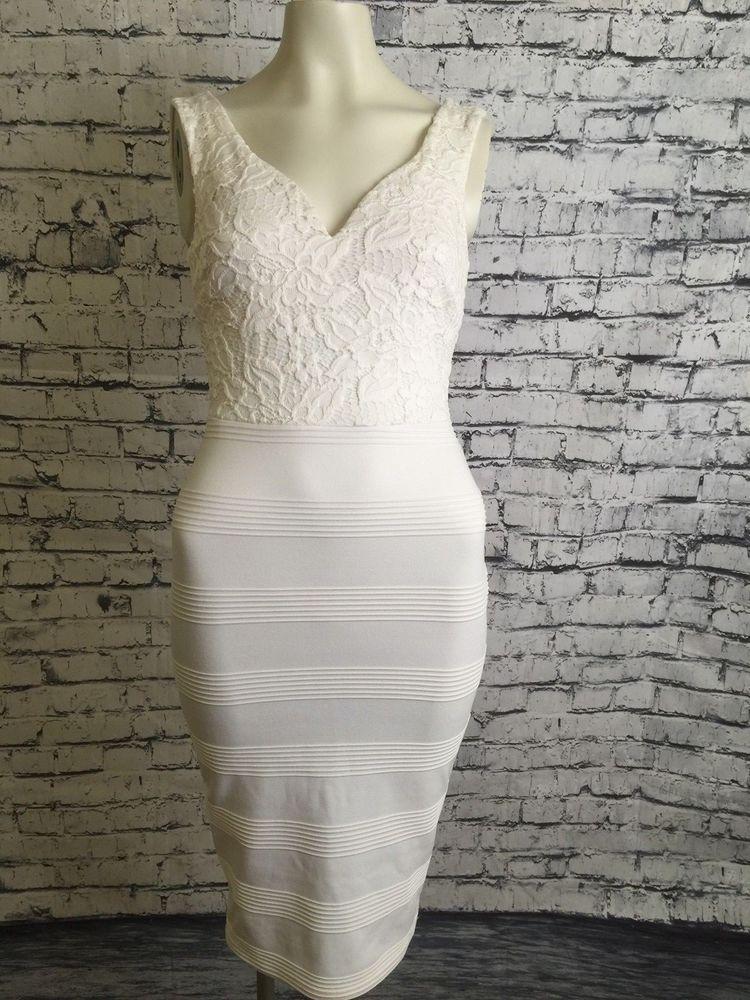 5dba9202490 Rhapsodielle Sleeveless Women S White Crochet Top Bodycon Style Back Zip  Dress