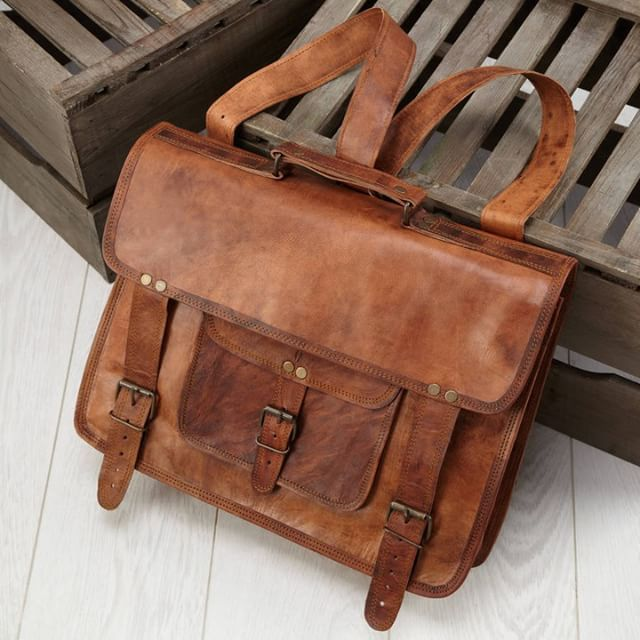 Leather Satchel Backpack 16