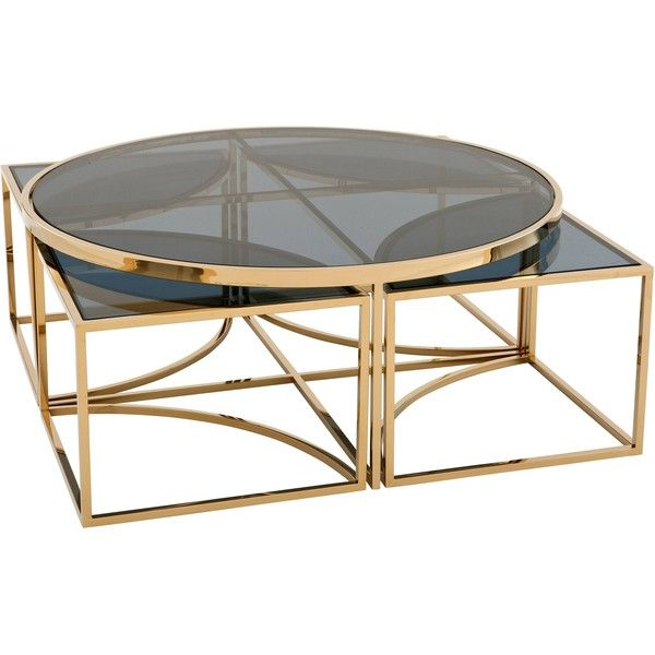 Bergen Hollywood Gold Blue Glass Nesting Round Coffee Table 2 814 Liked On Polyvore Featur Gold Nesting Coffee Table Gold Coffee Table Coffee Table Square