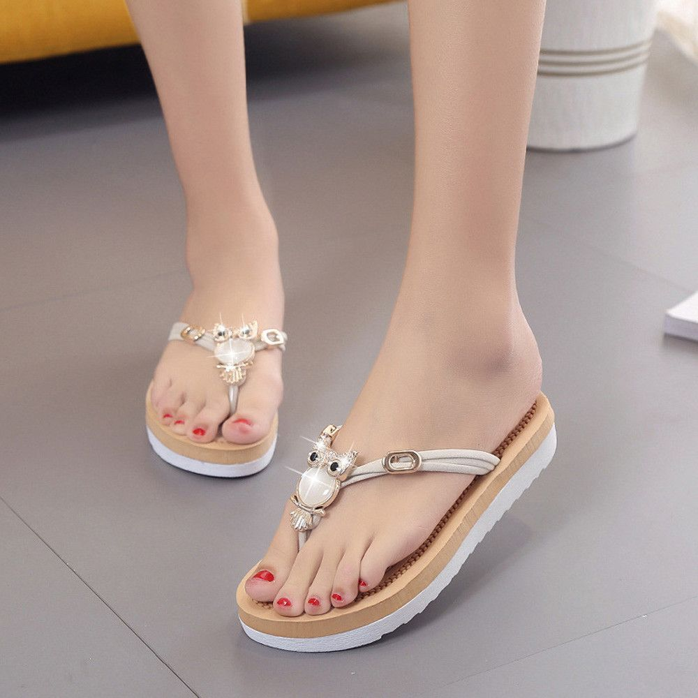 Women Flip Flops Chunky Heel Low Waterproof Summer Sandals de Mujer Slippers Indoor Outdoor Elegant Shoes