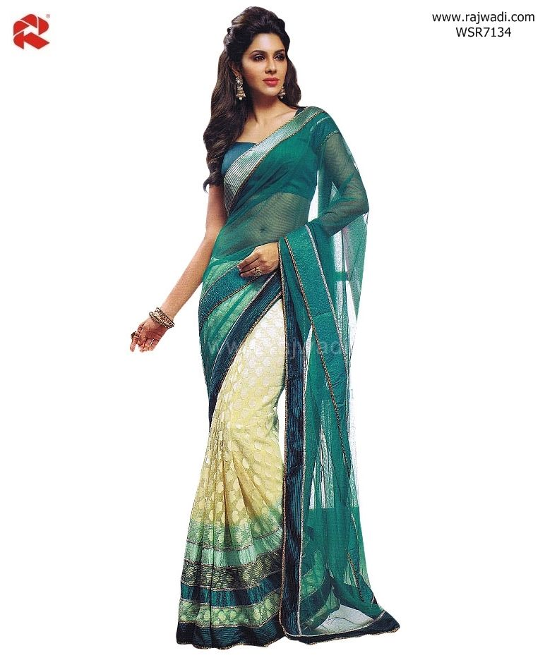 23c465910fc99f ... Traditional Sarees by Rajwadi. Brasso Net fabric Cream coloured pleats  and Light Sea Green coloured pallu is designed with sequins