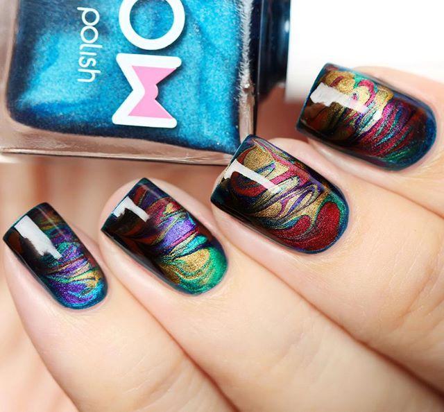 Dry marble nail art using magnetic nail polish - GORGEOUS! Драй ...