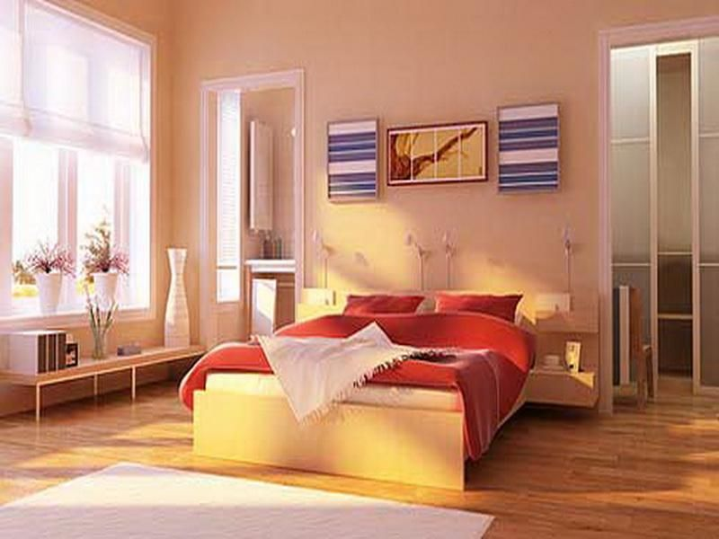 Bedroom The Good Design Of Color To Paint With Brown Wall Also Laminating Flooring And White Gl Window Wooden Bed