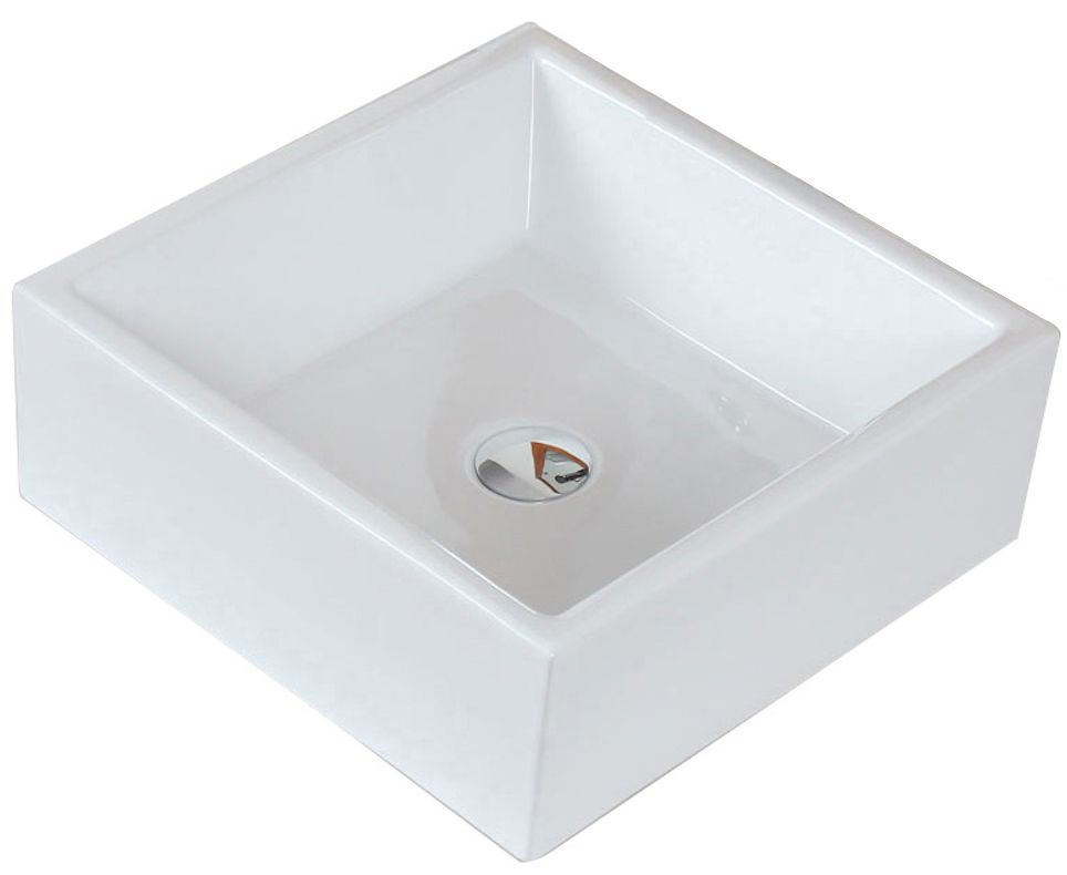 15 Inch W X 15 Inch D Square Vessel Sink In White Sink Wall