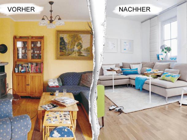 AuBergewohnlich Wohnzimmer Einrichten Vorher Nachher