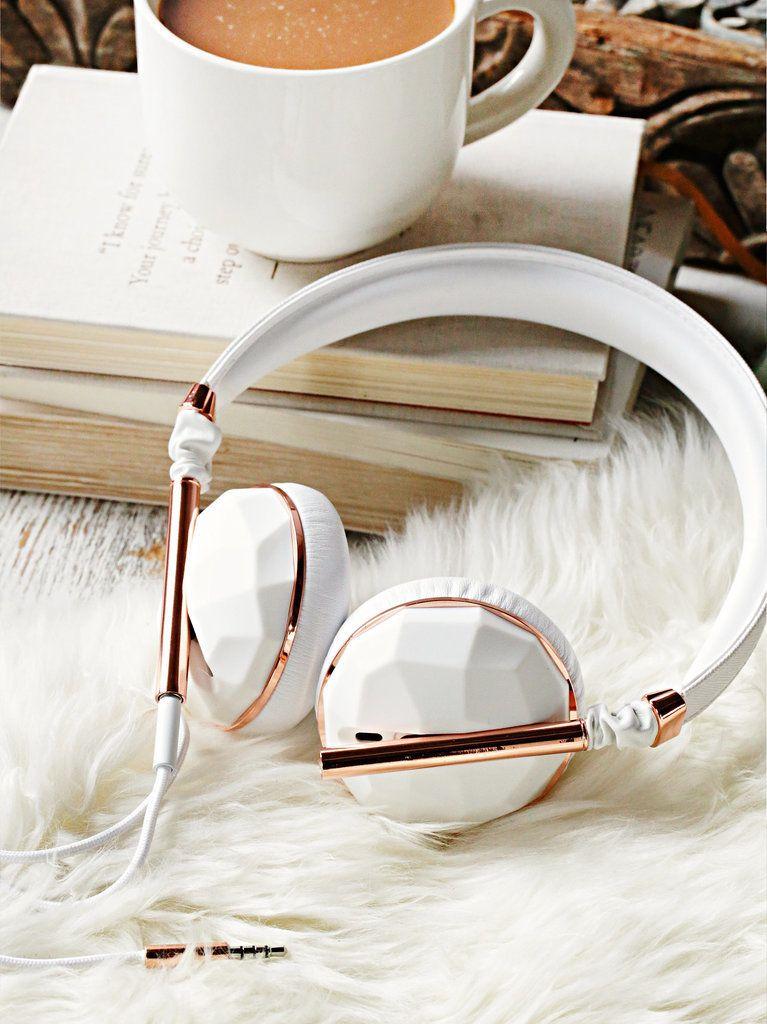 Linea Vegan Headphones in White and Rose Gold ($158)