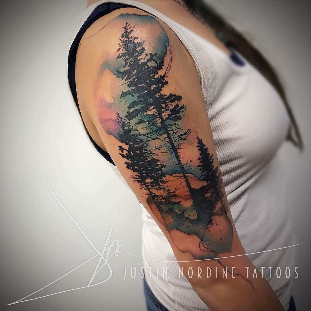 Forest tattoo by at therawcanvas in