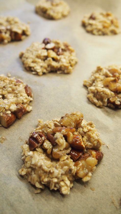 Bananen Nuss Cookies mit Haferflocken #essenundtrinken