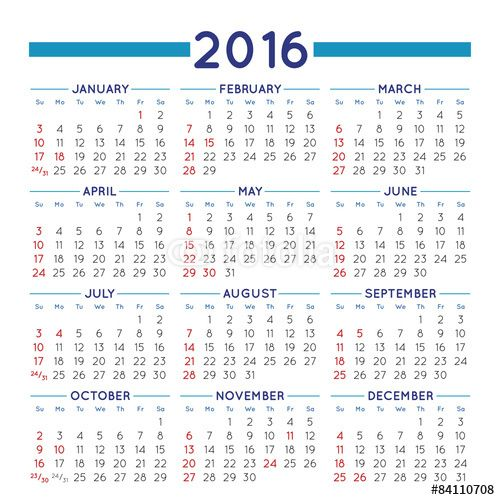 2016 calendar - Free Large Images | Ideas for the House ...