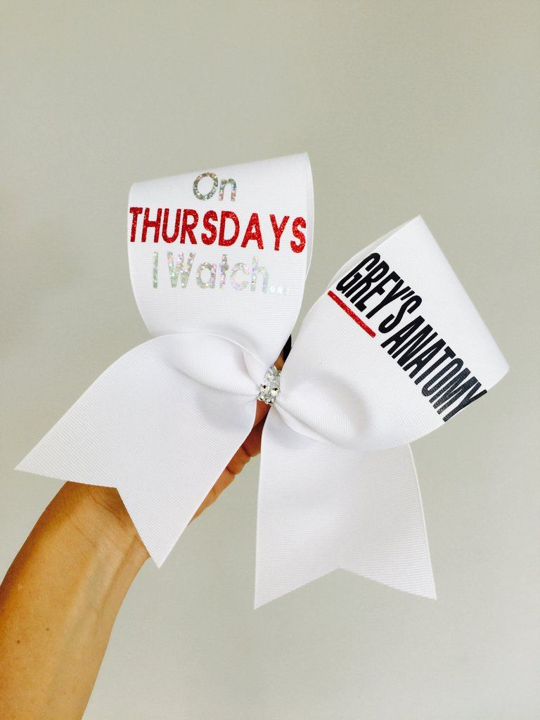 On Thursdays I Watch GREY\'S ANATOMY Cheer Bow | Cheer bows, Anatomy ...