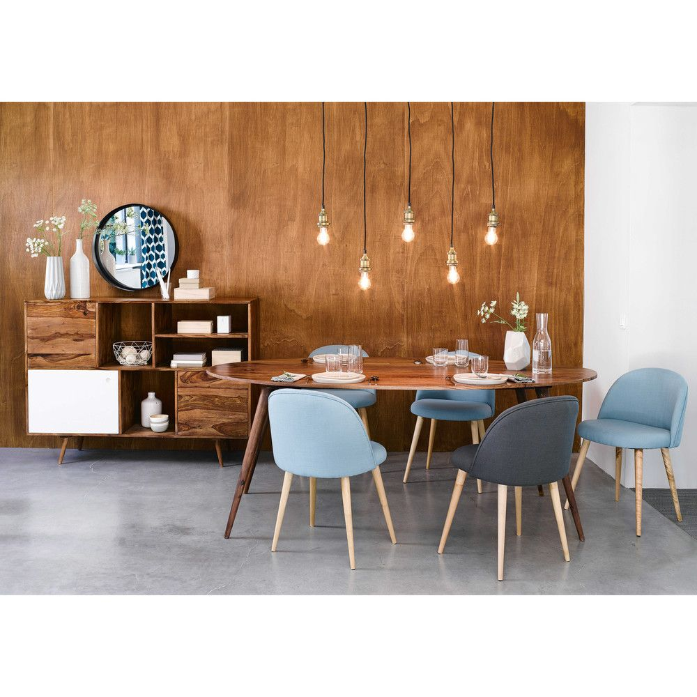 Solid sheesham wood oval dining table W 200cm | Oval dining tables ...