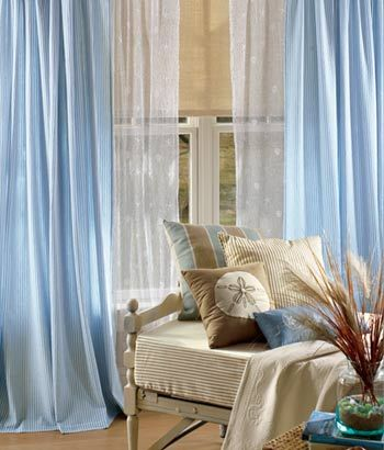 Blue Outside Curtains With A Sheer White Underlay Lving Room
