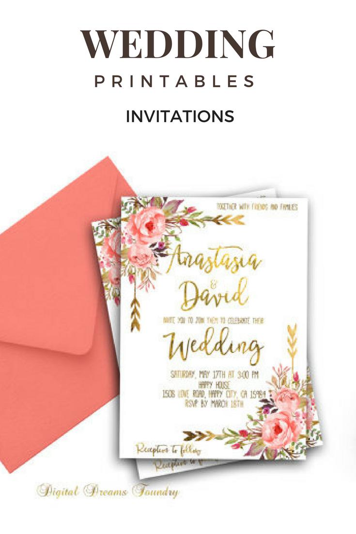Romantic Spring Wedding Invitation Printable Gold Wedding Blush Pink