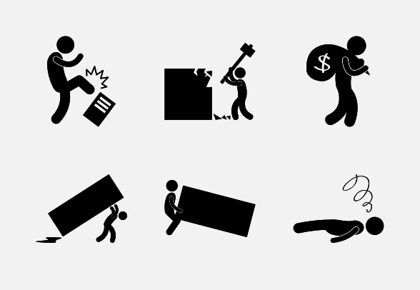 Working Hard Icons By Gan Khoon Lay Work Hard Icon Stick Figures