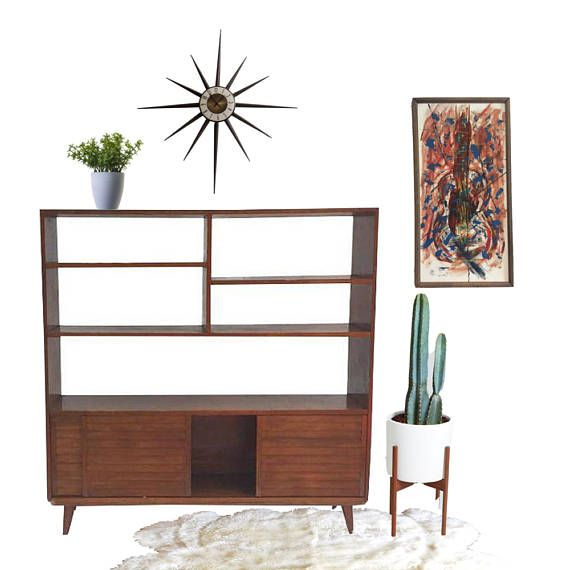 Mid Century Modern Bookshelf Wood Etagere Wall Unit Room