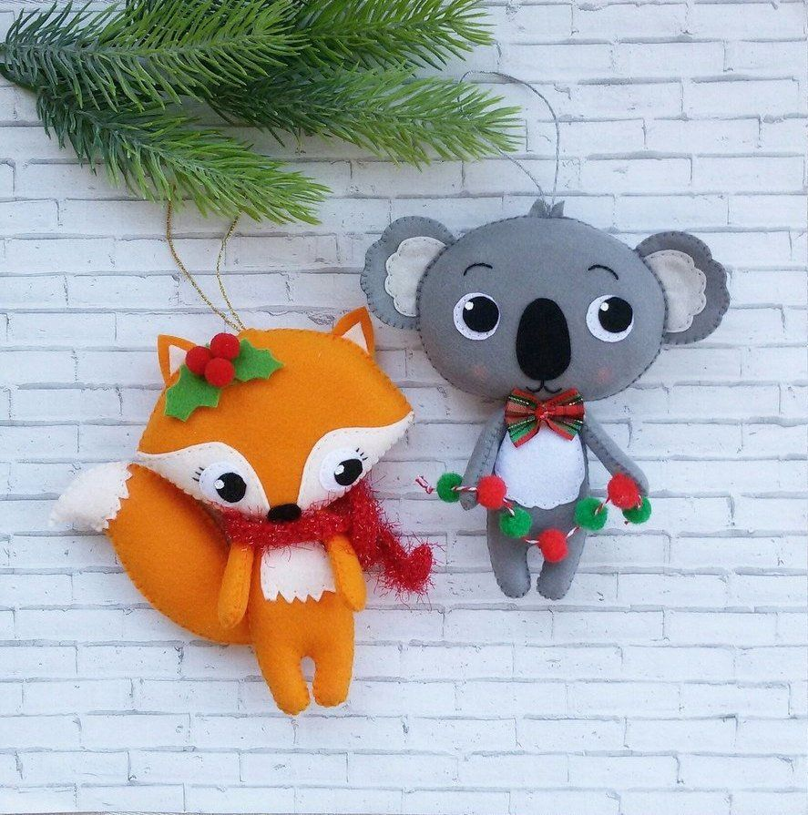Felt christmas toy, koala, fox ornament Felt toy koala