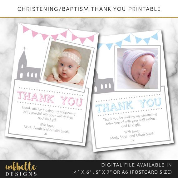 Christening Baptism Thank You Card Editable Template Instant Etsy Christening Thank You Cards Baptism Thank You Cards Baby Thank You Cards
