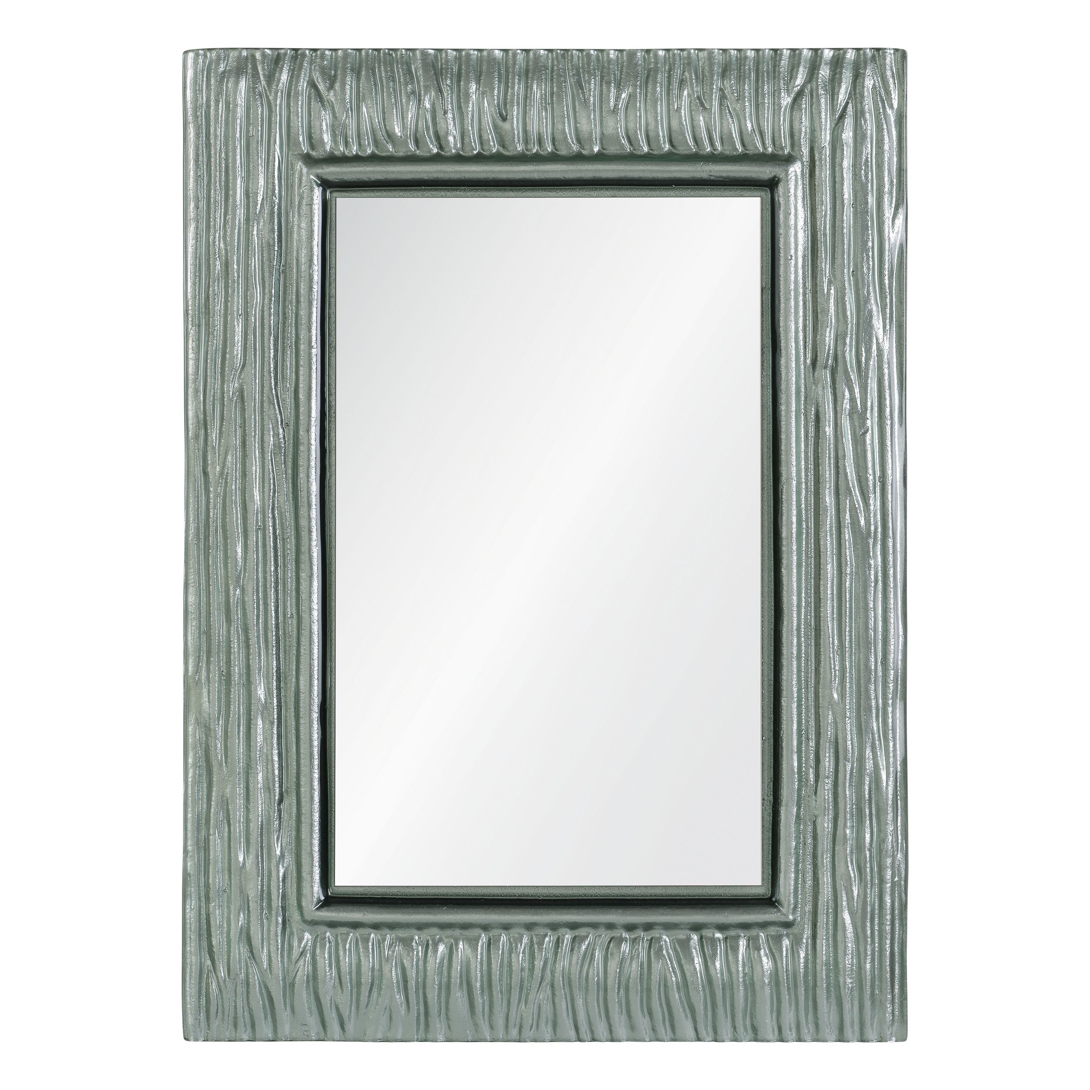 Silver colored glass with a motled texture frame this rectagular ...