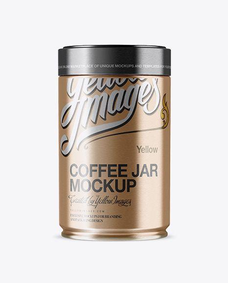 Download Free PSD Mockup Metallic Coffee Jar Mockup Object