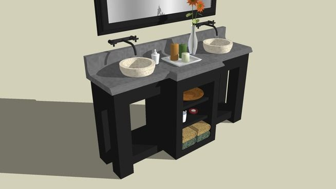 Sketchup double basin vanity woodworking pinterest for Sketchup bathroom sink