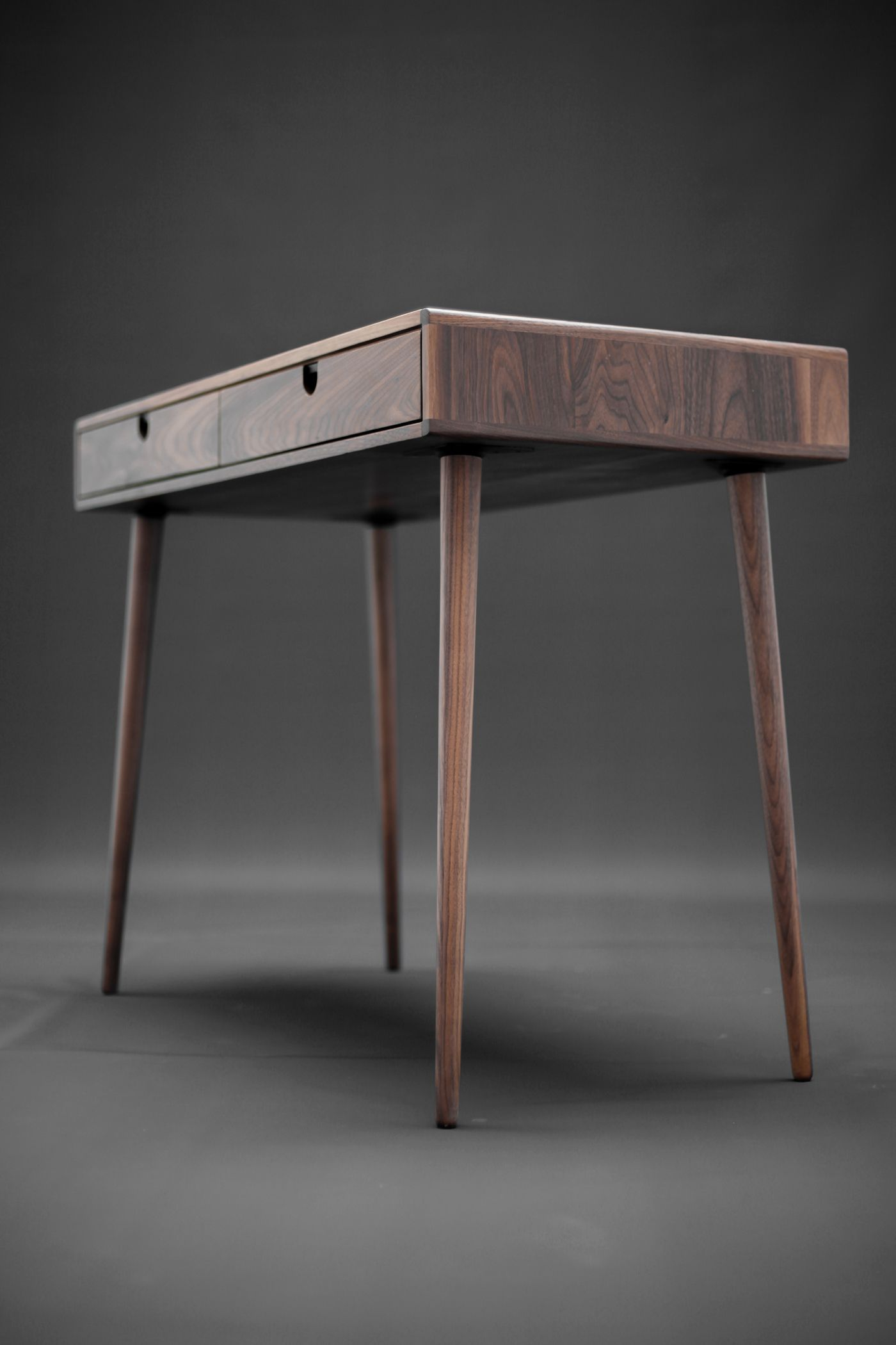 Desk Bureau In Solid Walnut Board On Behance Wood Deskmodern