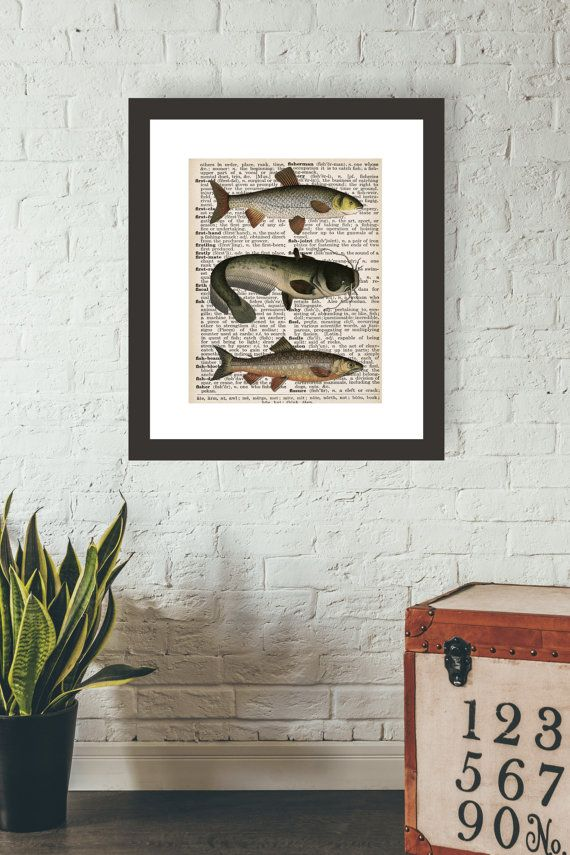 Charmant Fish Art Print, Dictionary Page Art, Book Print, Hunting Decor, Hunting  Lodge, Man Cave Wall Art, Nautical Art, Fishing Gift For Men