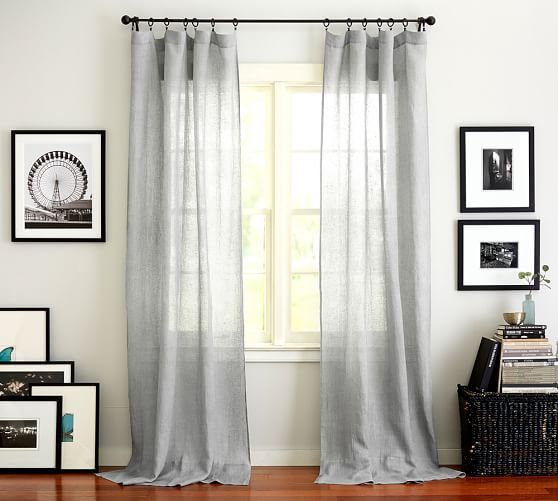 Belgian Flax Linen Sheer Curtain Flax With Images Pottery