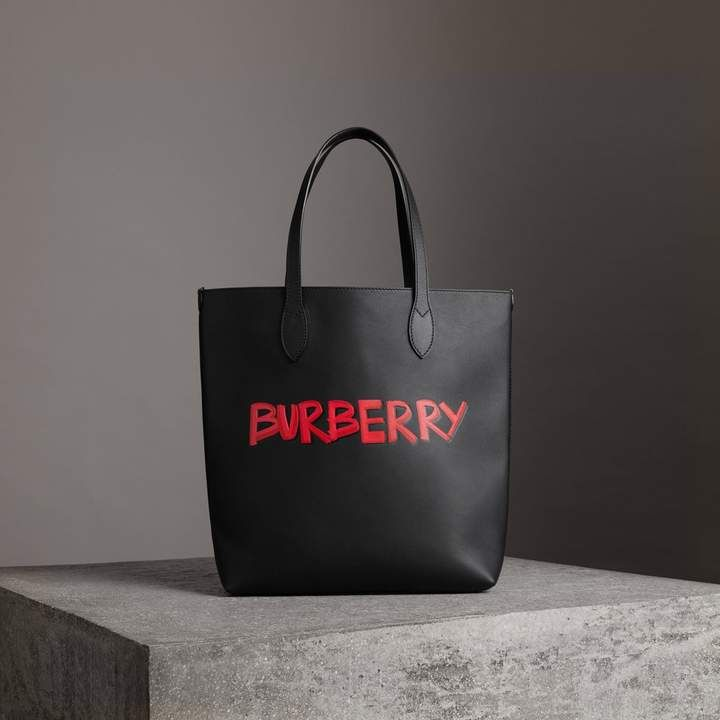 6f6138dd4d87 Burberry Graffiti Print Bonded Leather Tote