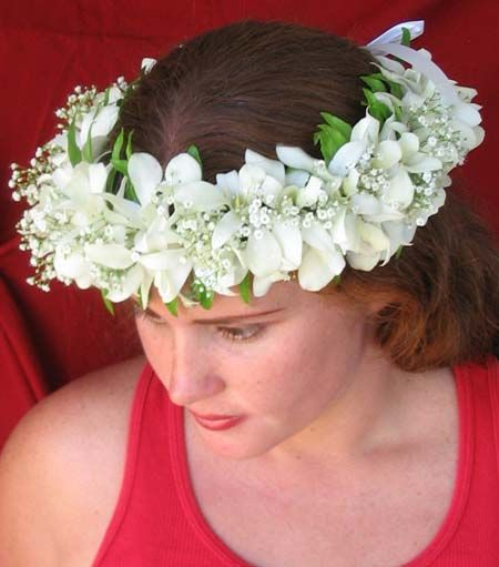 Fresh Haku headband from Hawaii white orchids 25a00e34caf