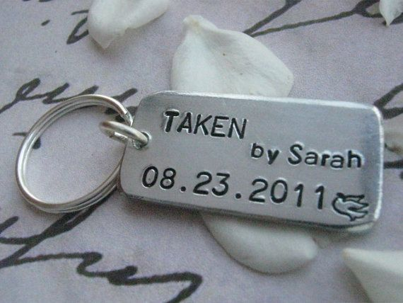 Wedding Gift For Friend Male: TAKEN Keychain, Mens Personalized Keychain, Anniversary
