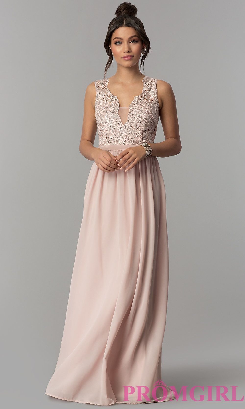 dc5c78cbc2f Lace-Bodice V-Neck Long Chiffon Prom Dress