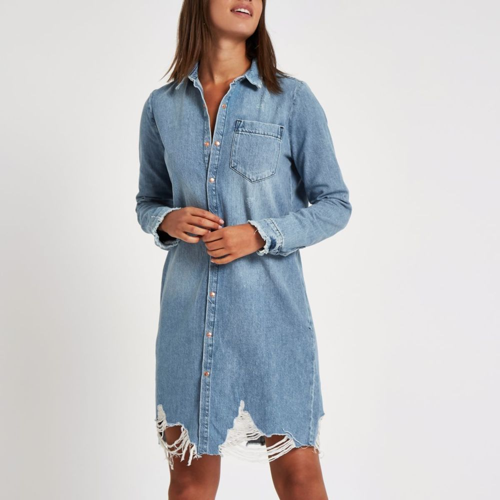 River Island Blue Ripped Denim Shirt Dress UK 14 #fashion ...