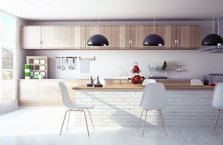 Cocinas Modernas Con Isla Cocina Muebles Madera Isla Ladrillo Blanco Gallery Decoracion De Cocina Moderna Decoracion De Cocina Cortinas De Cocina Modernas