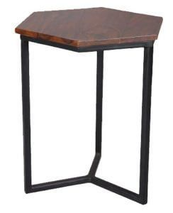 Indian sheesham wood hexagonal lamp table from Scape Interiors West
