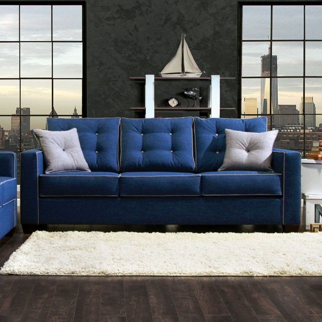 Sku Sm8802 Contemporary Sofa And Loveseat Slim Square Arms Button Tufted Pillow Back Box Sheet Seat Cushions Q Upholstered Sofa Furniture Blue Fabric Sofa
