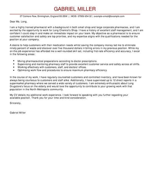 pharmacist cover letter examples for healthcare livecareer - health care cover letter